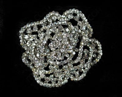 Rhinestone Rose Brooch