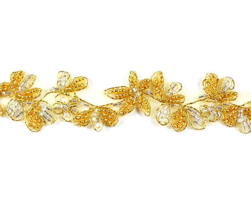 Beaded Floral Trim (Two-Tone Colors)