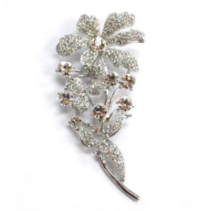 Rhinestone Flower and Stem Brooch