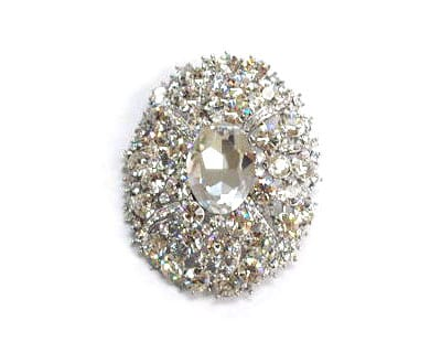 Large Rhinestone Oval Brooch