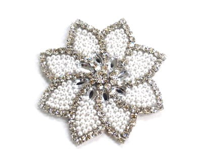 Rhinestone Pearl Flower Applique