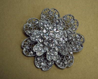 Floral Filigree Rhinestone Brooch