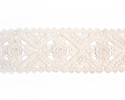 Beige Wide Cotton Lace