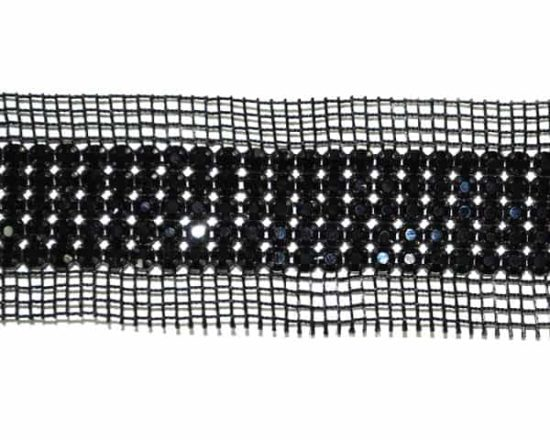 Dark Rhinestone Banding on Black Mesh