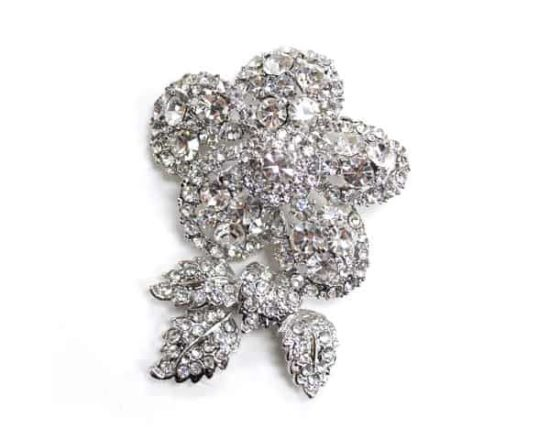 Floral Brooch with Leaves