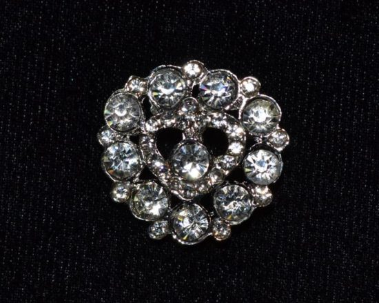 23mm Rhinestone Heart Button