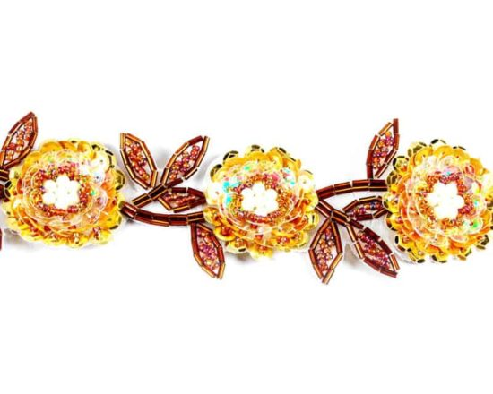 Detailed Beaded Sequin Flower Trim