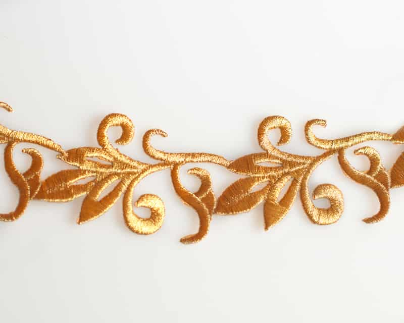 Embroidered leaf trim iron on shine