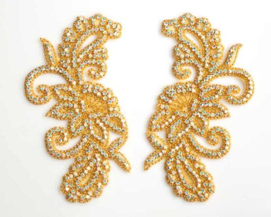 Gold AB Matching Cora Large Rhinestone Applique