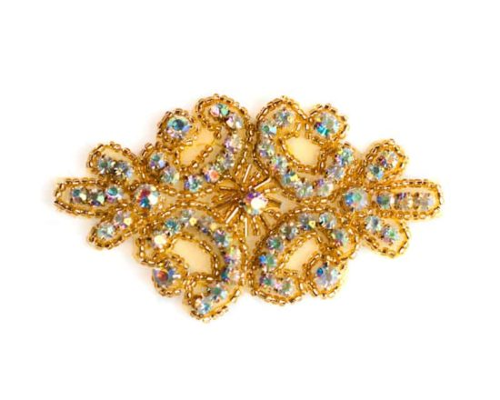 Gold AB Madge 2 Rhinestone Applique