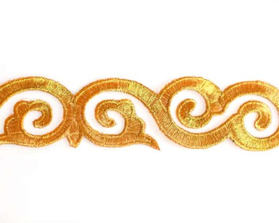 Embroidered Gold Swirl Trim