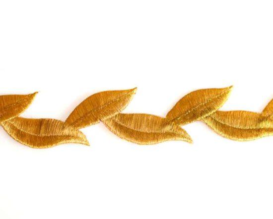 Metallic Embroidered Leaf Trim