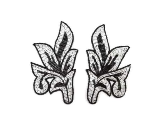 Beaded Matching Leaf Applique (Single or Pair)