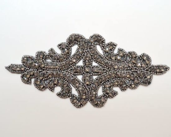 Large Rhinestone Emblem Applique (Gunmetal)