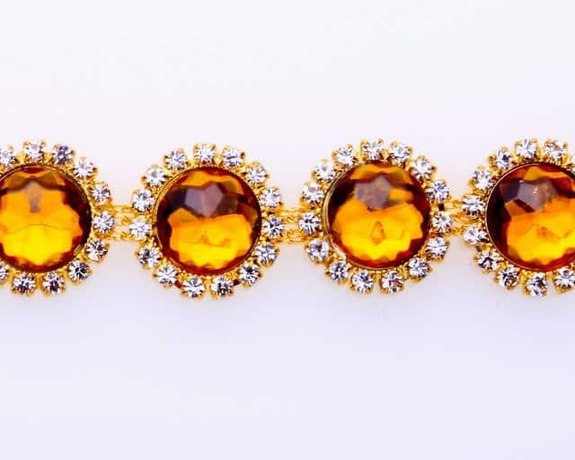 Amber Circles Rhinestone Chain
