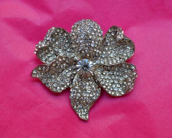 Pave Orchid Rhinestone Brooch