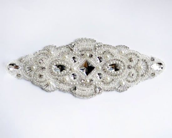Candela Crystal Rhinestone Pearl Applique (Iron-On)