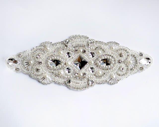 Candela Crystal Rhinestone Pearl Applique (Iron-On)