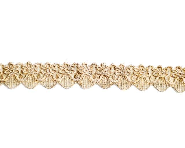 "1"" Gold Metallic Border Lace"