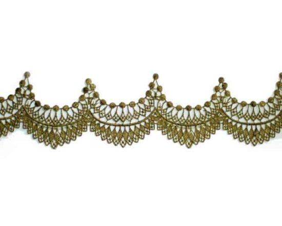 "2"" Olive Green Metallic Border Lace"