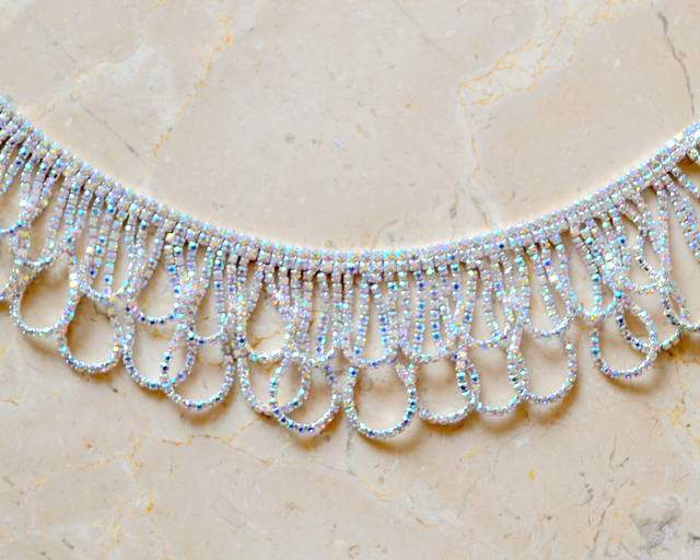 Rhinestone Loop Fringe Shine Trim