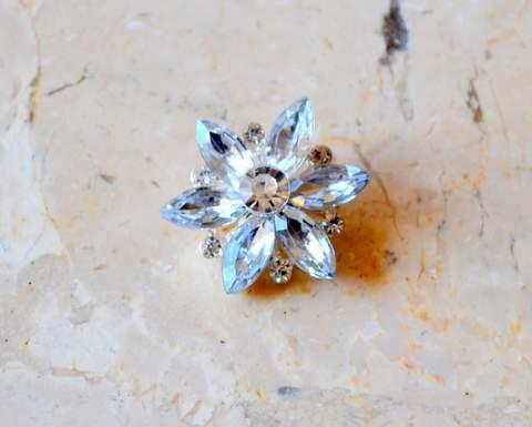 """1.25"""" Mini Silver Rhinestone Brooch"""