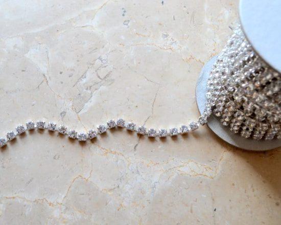 Clear-Silver Rhinestone Chain (SS30)