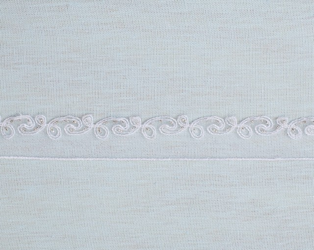 Embroidered Border Tulle Trim with Seed Beads