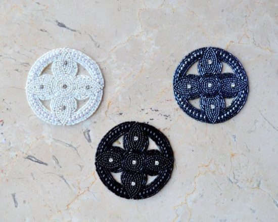 Beaded Circle Applique with Rhinestone Accents