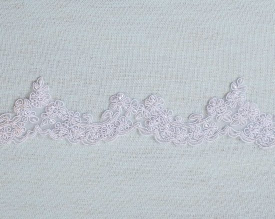 Dahlia Embroidered Beaded Scallop Lace Trim