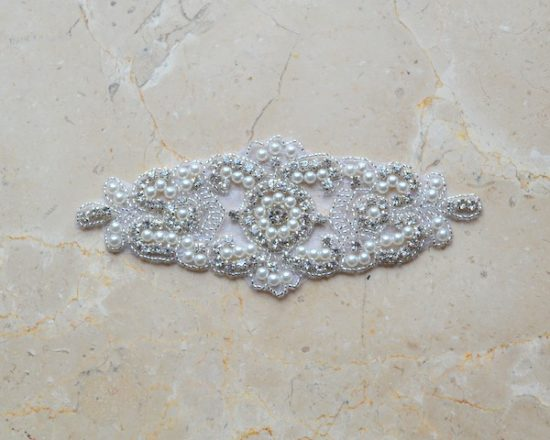 Magdaly Pearl and Rhinestone Emblem Applique