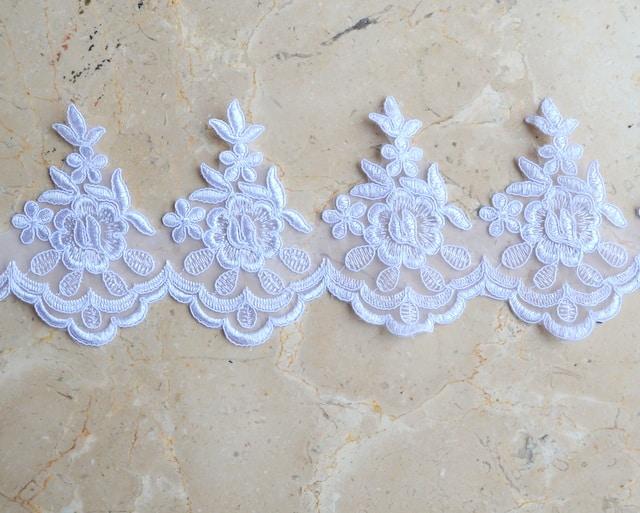 Lorraine Scallop Embroidered Border Lace