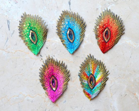Embroidered Peacock Feather with Gold Sequins (Iron-On)