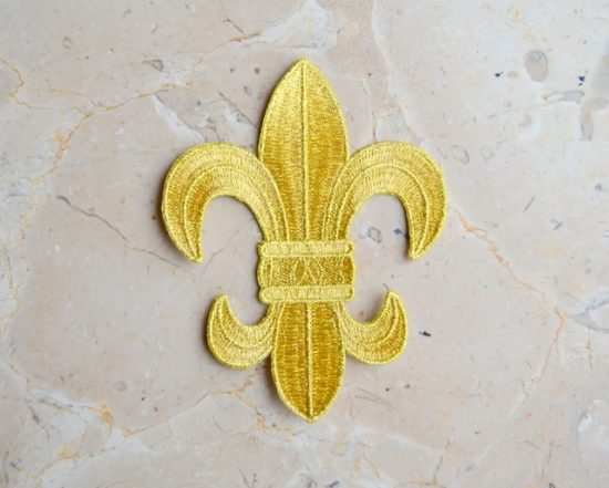 Embroidered Gold Fleur De Lis Emblem (Iron-On)
