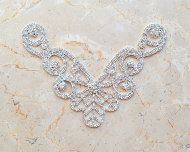 Athena Rhinestone V Neck Ornament