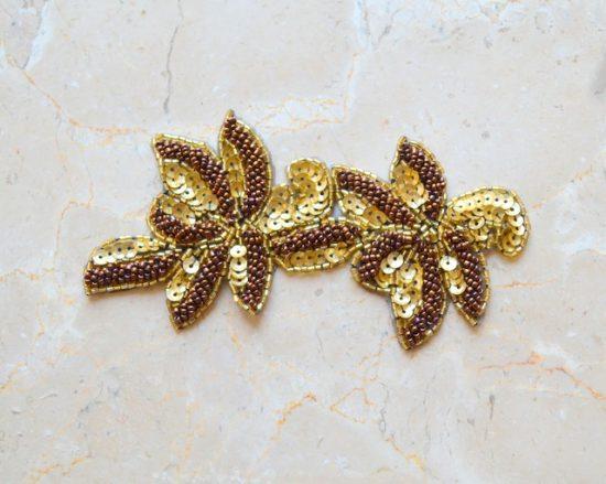 Duo Leaf Bead Sequin Applique