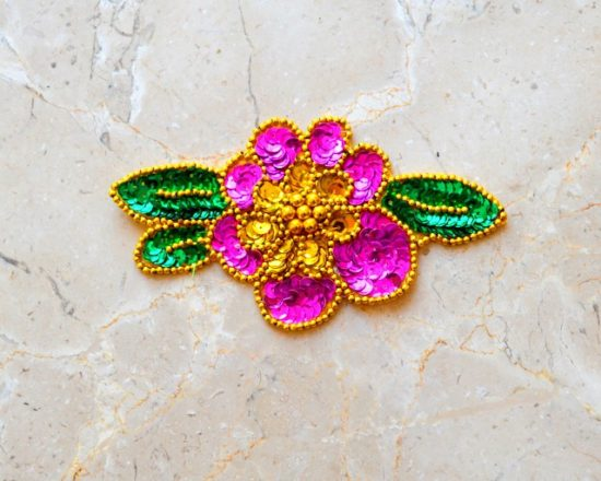 Fun Flower Sequin Bead Applique