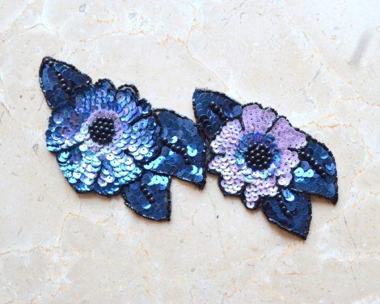 3-D Bead Sequin Flowers Applique