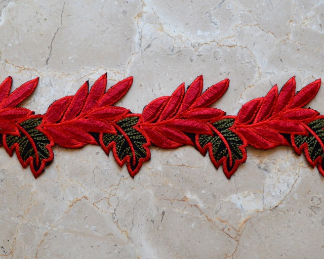 Embroidered Velvety Leaf Trim (Iron-On)