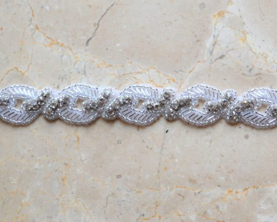 Small Links Rhinestone Beaded Trim
