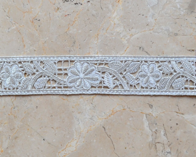 Embroidered Floral Band Trim (Iron-On)