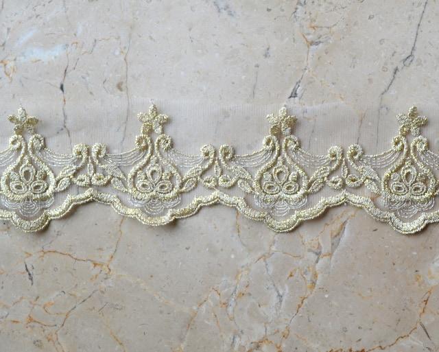 "3""  Scallop Gold Metallic Border Lace"