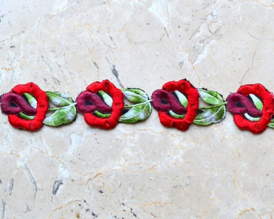 Flower and Stem Embroidered Trim (Iron-On)