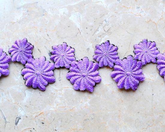Velvety Dahlia Embroidered Trim (Iron-On)