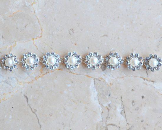 Daisy Flower Pearl Rhinestone Chain