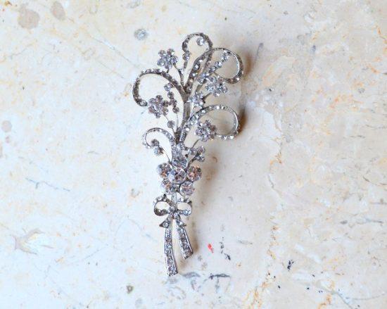 Floral Bow Rhinestone Brooch