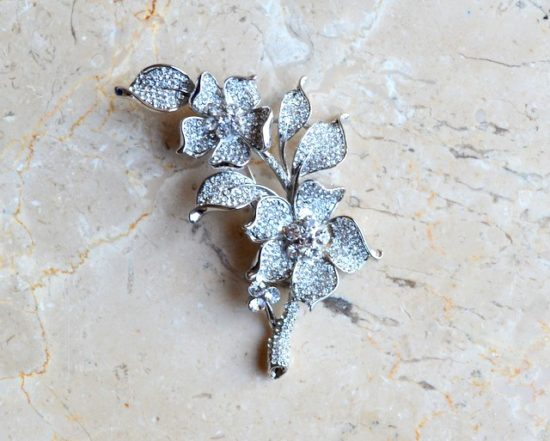 Pave Flower and Stem Rhinestone Brooch