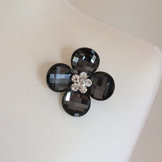 Crystal Petal Flower Brooch