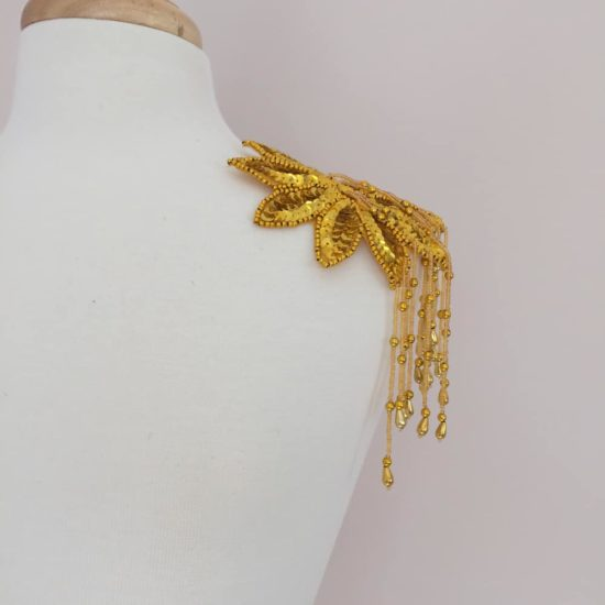 Gold Sequin Bead Epaulet Applique