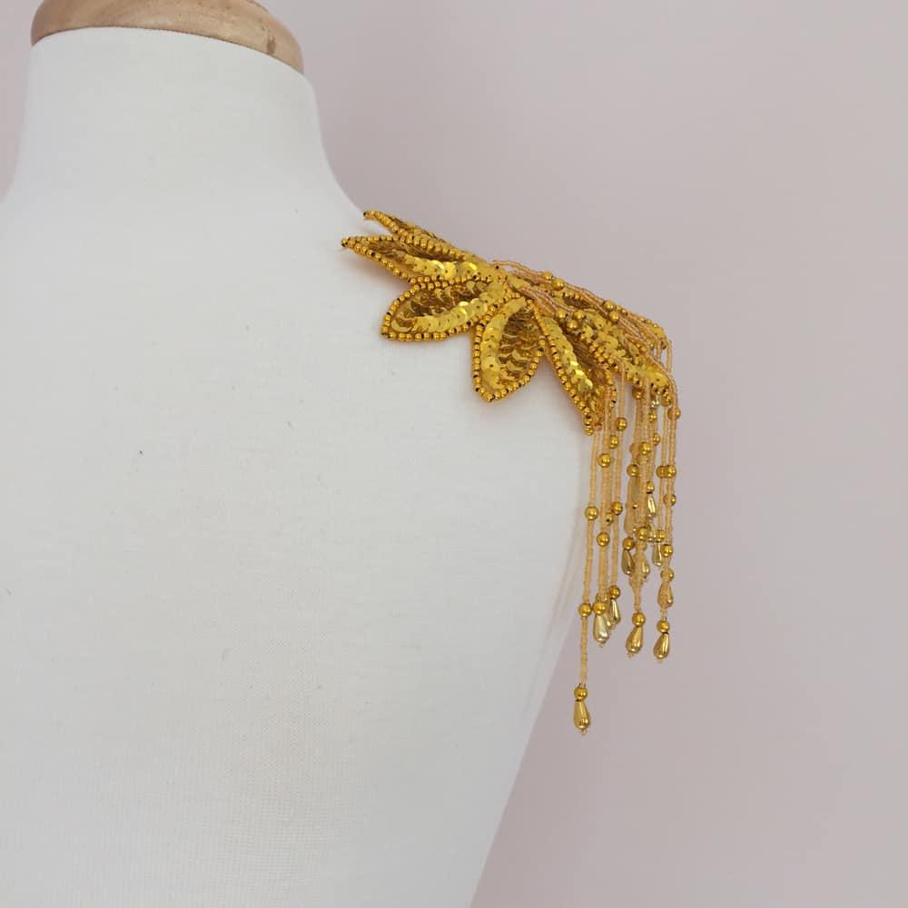 Gold Sequin Bead Epaulet Applique